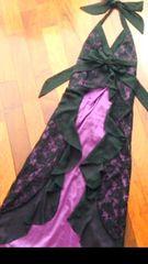 リボンホルターネック黒紫ドレスワンピース姫レース小悪魔キャバ