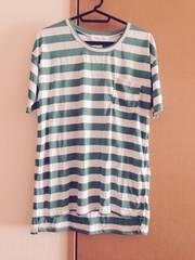美品★白×グリーン★ボーダー★Tシャツ