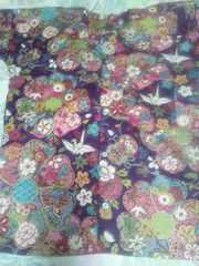 ☆新柄紫×金彩大花折鶴蝶和柄ダボシャツ2L