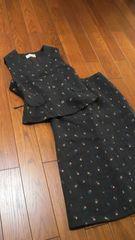 【専門店】RUTIA CLAUDE◆ブラウン花刺繍◆秋冬ベストスーツ
