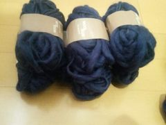 毛糸福袋ウール100%7玉セット紺