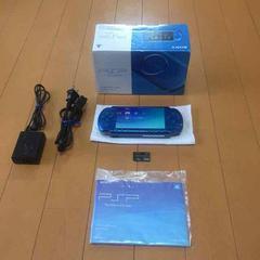 【送料無料】PSP本体 3000 青 フルセット メモステ付