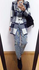 【新品+美品】チェック柄ニットコート+スカル刺繍デニム◆総額1万円◆上下セット