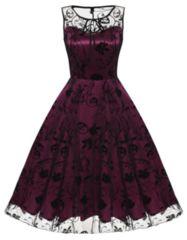 新品大きいサイズ3L15号ゴシックチュールパーティドレス 赤×黒