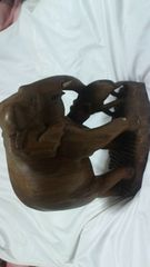 ハンドカービング木彫りの像オブジェ
