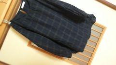 チェックスモック長袖ブラウスL*おおきめ★クリックポスト164円