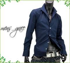 新品 イタリアンカラー 長袖ドレスシャツ 日本製 ネイビー LL