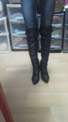 美品黒ニーハイスタッズ美脚10センチ36Mスキニースカート
