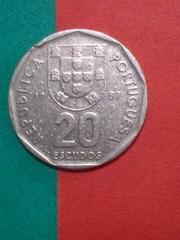 ポルトガル 20エスクード硬貨 1987年 流通品