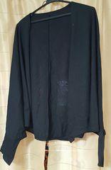 未使用大きいサイズ長袖薄手ドルマンカーディガン黒LL〜3L