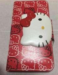 中古★キティ手帳型iPhone6プラス★iPhone6sプラス対応★赤