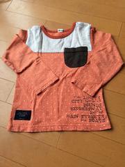 キムラタン.ラキエーベ.長袖Tシャツ.オレンジ.ドット.110