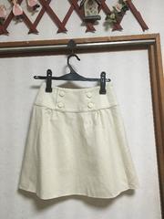 エフデ 秋冬ボックスツイードスカート台形スカート白ホワイト9号
