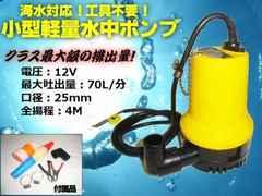 軽量水中ポンプ/12v小型船舶用/毎分70L排水・口径25mm・海水対応