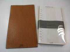 エルメス茶系レザーメモ帳付きメモパッド