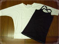 ☆ドルマンTシャツ+キャミセット L (オフ+チャコール)