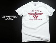 U.S.NAVY米海軍・錨マークTシャツ・白赤M・新品/ミリタリー