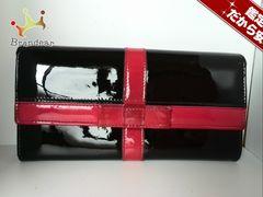ディーアンドジー 長財布 黒×ピンク リボン エナメル(レザー)