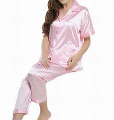 ◆新品◆半袖シルクサテンパジャマ♪レディースピンクM!