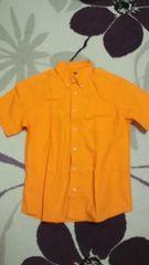 サイズM タケオキクチ 半袖シャツ オレンジ色