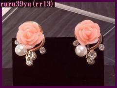 rr13/大人気♪可愛いピンク薔薇イヤリング/送料120円