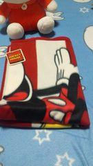 新品★ミッキーマウス★ボーダー柄ブランケット★赤