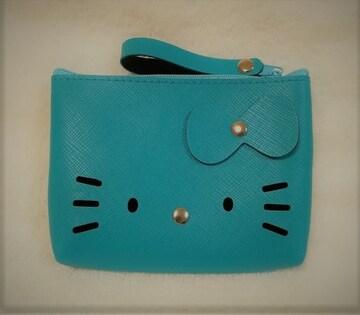 モバオクで買える「キティ★合皮ポーチ★ターコイズブルー★バッグの素材で丈夫★」の画像です。価格は510円になります。