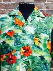 表記S!80'sビンテージ.100%RAYON.花柄ハワイアンアロハシャツUSA古着オールドサーフ