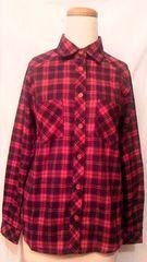 OZOC・オゾック美品タータンチチェック柄コットン混ネルシャツトップス赤黒 M