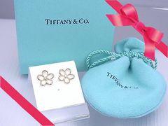 Tiffany K18YG ガーデンフラワー オープン ピアス 新品同様★dot