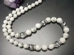 天然石昇龍手彫り銀箔水晶ホワイトターコイズ12ミリネックレス