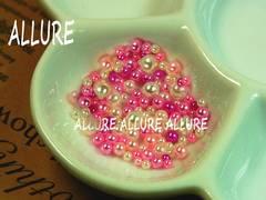 穴なしパール ピンク系×ホワイト2〜4ミリMIX レジン 70粒