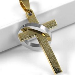 新品 1円〜★送料無料★ 聖書十字架リング ゴールド クロスネックレス