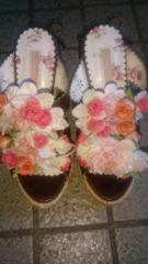 LIZLISA☆お花付き☆編み上げウェッジソールサンダル☆ブラウン☆S☆超美品