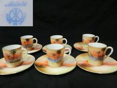 オールドノリタケ夕焼けシーンデミカップ&ソーサー6客セット