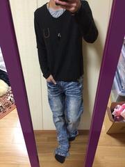 RESONECK/切替長袖Tシャツ