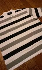 LAーGATE半袖ボーダー カノコポロシャツ 白黒グレー サイズXL→2XLXXL位 �C