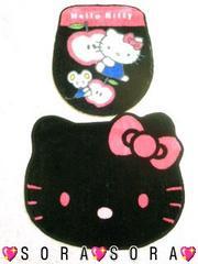【キティ】可愛いトイレマット&カバー洋式2点セット�A