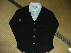 アンサンブルシャツ+カーデ M ブラック 黒