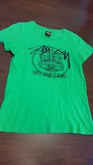 STUSSYステューシー/緑×黒プリントTシャツ/S/USA製 サーフ