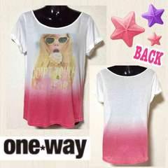 【新品/one way】グラデカラーガールフォトプリントTシャツ
