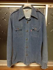 古着ヴィンテージ リーバイス ワークミリタリーシャツ風 デニムブルゾン Mサイズ 青 アメリカ製