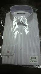 《Back Point》メンズ 長袖 シャツ/デザインワイシャツ/M/パープル/ストライプ/新品