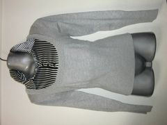 ◆胸元ストライプ&パール敷き詰めデザインニットウール入り