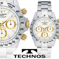 正規品【TECHNOS】フルステンレス・クロノグラフ腕時計★