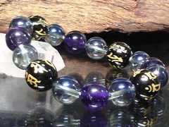 守り本尊十二支梵字オニキス青水晶・アメジスト数珠