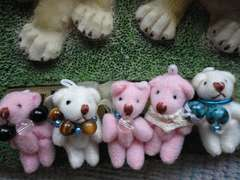 ホワイト・ピンク熊ストラップ