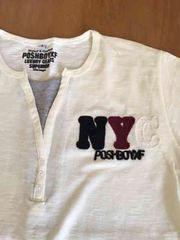 新品!刺繍風ロゴがホワイト半袖Tシャツ!