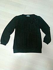 美品☆胸元リボン&ストーン付/大きいサイズLL/濃いグレー長袖ニット