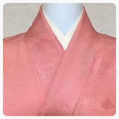正絹 色無地 ピンク色 地紋 松模様柄 着付け 御稽古